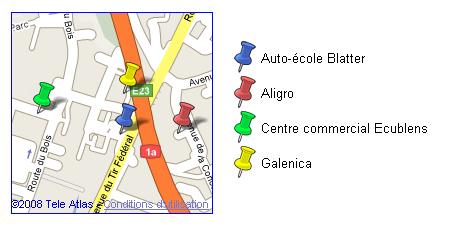 Carte générée par Google